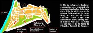 Mapa del barri de la Vila on es veu marcada la situació dels diferents refugis. Font: Exposició virtual CEM